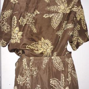 Set of silk  blouse & skirt /Melrose Studio